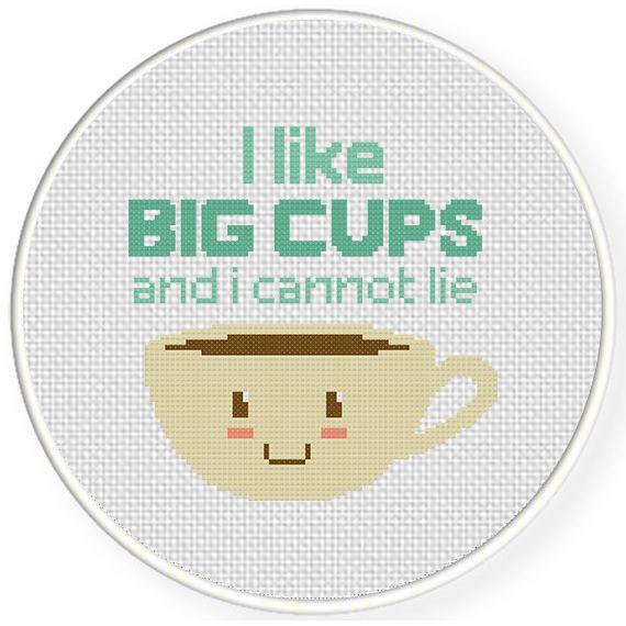 Charts Club Members Only: I like Big Cups Cross Stitch Pattern