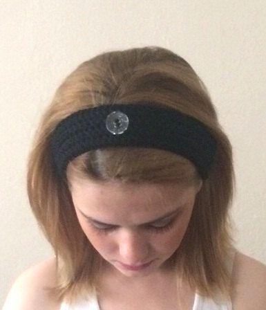 black knitted headband  buttons black hair bands knit headband
