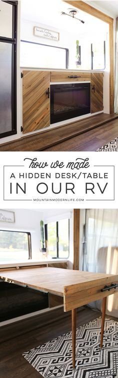 Whether you live in a small space, or are looking for space saving ideas, you've gotta check out this hidden DIY pull-out table that was built inside a RV!  via @MtnModernLife