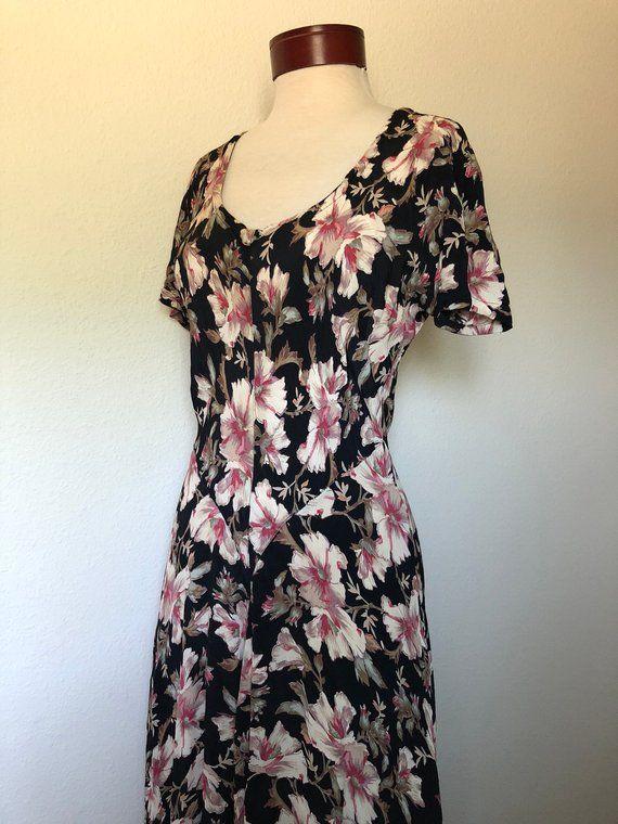 f3840c1c274 1990s vintage black floral dress