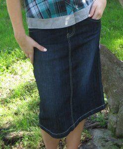 Kick Pleat Denim Skirt - modest below the knee length $39