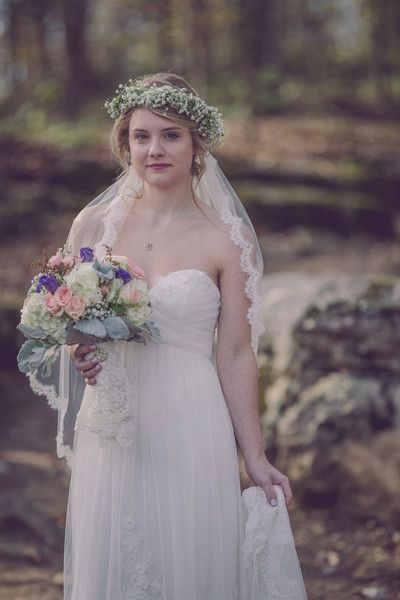 Romantic wedding dress idea - sheath gown with strapless sweetheart neckline and lace-edged veil + flower crown {whitney fletcher photography}
