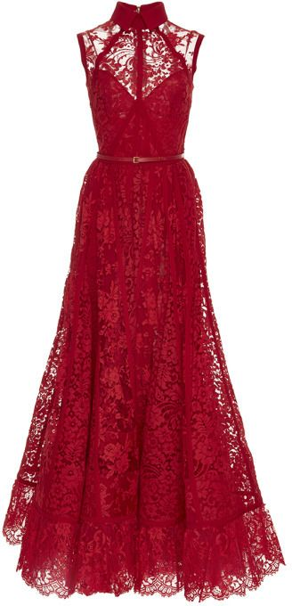 Elie Saab Sleeveless Lace And Silk Georgette Gown Cardinal           jaglady