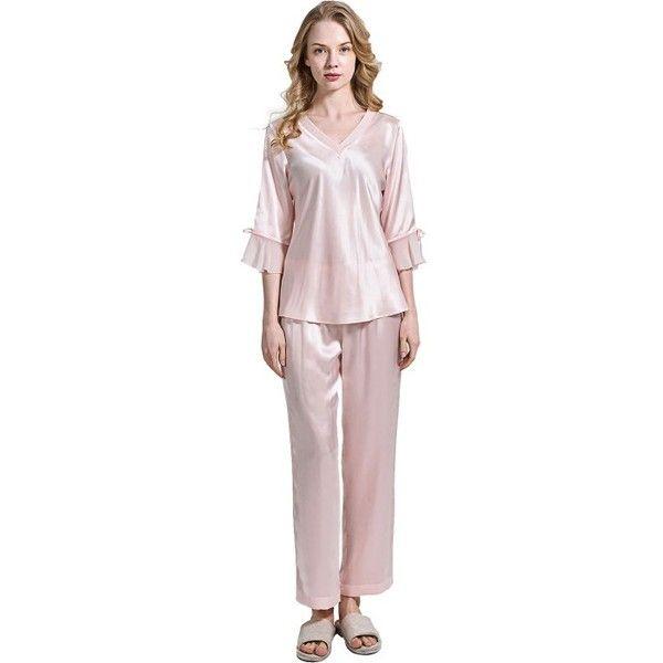 100% Silk Womens Two Piece Pajamas Set - OOSilk ($199) ❤ liked on Polyvore featuring intimates, sleepwear, pajamas, silk sleepwear, silk pajamas, silk pajama set, silk pyjamas and silk pjs