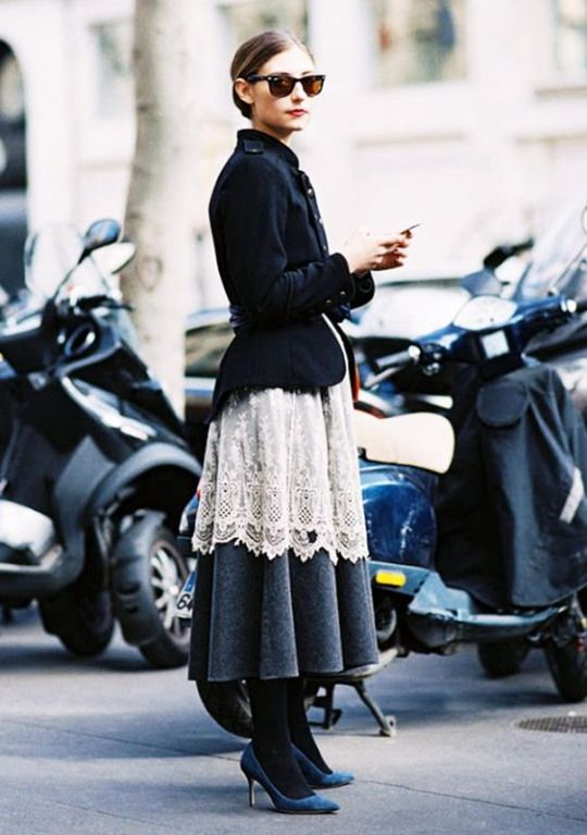 ***Personally, I think it would look better if the skirt grazed the ground,  giving it a throw-back feel. Nice way to incorporate a tailored, vintage  jacket.