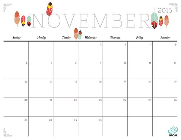 Download iMOM's Free November 2016 printable calendar. I spy feathers…and more feathers.