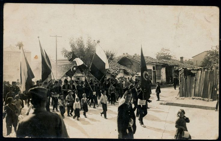 1908 HURIET Revolution Turkey In Macedonia,Turkish&Bulgaria Flag,Photo Postcard