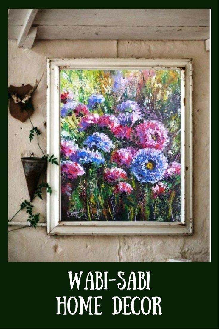Wabi-sabi home decor. Wabi-sabi interior wall art. Oil painting on canvas. Asters.
