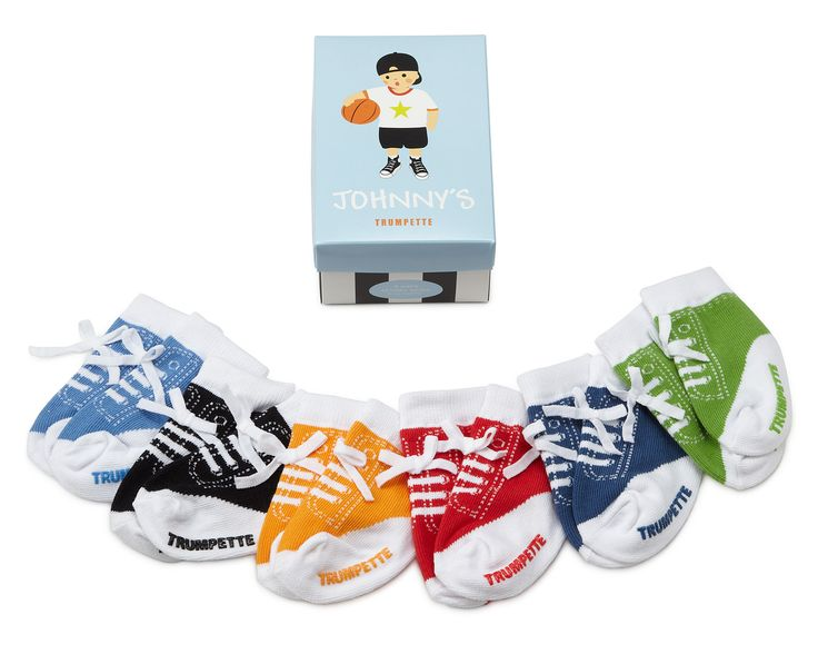 JOHNNY'S INFANT SOCKS - SET OF 6 | Colorful Children's Socks That Look Like Sneakers, For Boys[ UncommonGoods: Infants Socks, Johnny Infants, Shoes Socks, Classic Kicks, Colors Packaging, Baby Boys, Baby Socks, Children Socks, Sneakers Socks