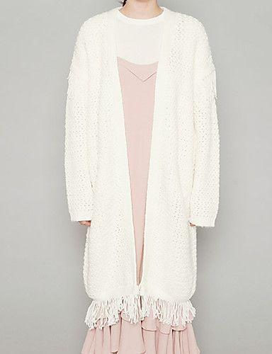 Dame Vintage I-byen-tøj Lang Cardigan Ensfarvet,Hvid / Grøn V-hals Langærmet Uld…