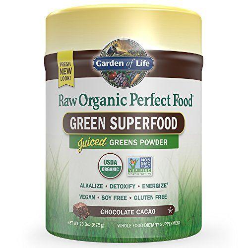 Garden of Life Vegan Green Superfood Powder - Raw Organic Perfect Whole Food Dietary Supplement Chocolate 23.8oz (675g) Powder