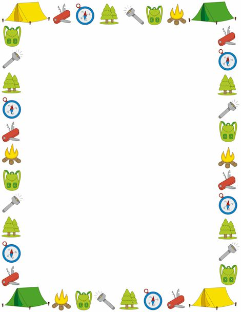 A page border with a camping theme. Free downloads at…