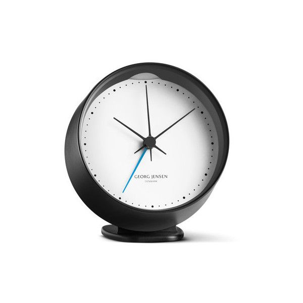 Georg Jensen - Henning Koppel Alarm Clock (160 CAD) ❤ liked on Polyvore featuring home, home decor, clocks, alarm clocks, table clocks, georg jensen, black alarm clock, colorful clocks, black home decor and black wall clock