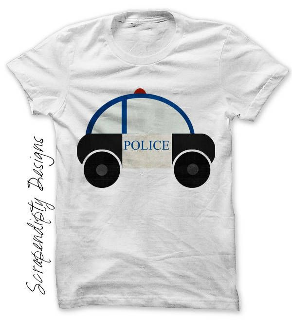 Police Car Iron on Transfer, Kids Police Shirt, Toddler Car Birthday Party, Transportation Clothes, Police Digital File, Baby Boy Police Tee