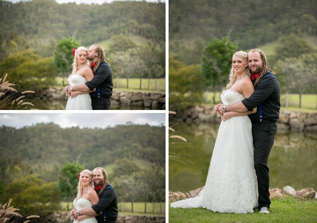 groom embracing his new bride