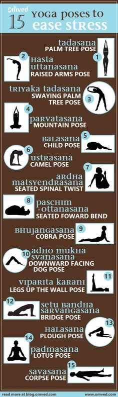 Top15 stress relieving yoga poses - Although all yoga asanas reduce stress and tension, increase strength and balance, increase flexibility and lowered blood pressure, there are some poses that reign supreme. Practise these poses with deep breathing for m http://tmiky.com/pinterest