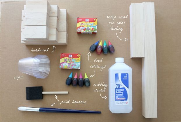 Nontoxic Wood Stain: 1 tbs rubbing alcohol to 10 drops food coloring