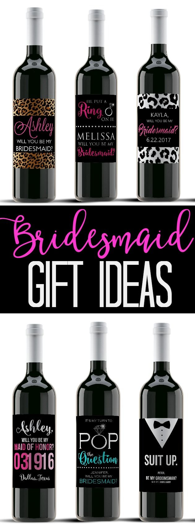 "Bridesmaid Wine Labels for your wedding party! Custom wine labels are the perfect unique bridesmaid gift and a special way to ask ""Will you be my Bridesmaid?"" - Customize wine labels for each member of your wedding party and present them with this unique Bridesmaid or Maid of Honor gift idea. You can change colors, titles, wording, etc."