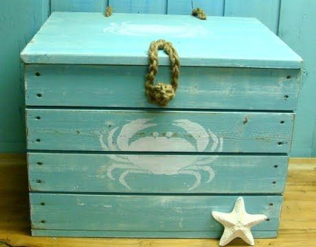 "painted wood crate with a crab {note to self: would make a nice tack box; with stencil of horse, sheep etc. would need to be approx 27"" tall and 30"" wide}"