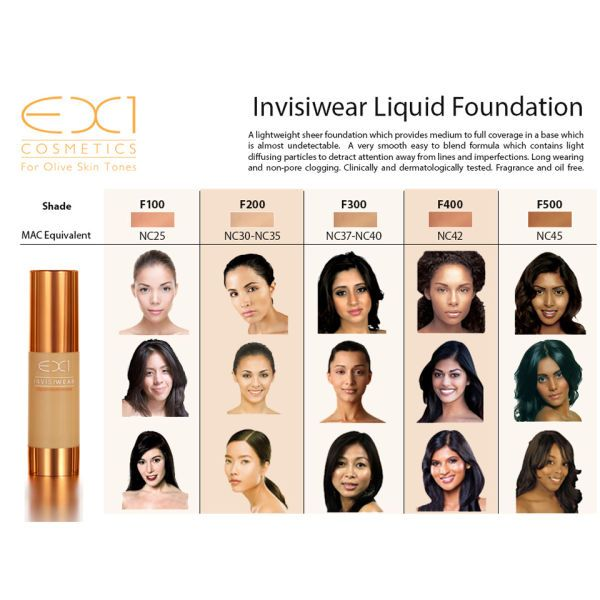 Ex1 Cosmetics Invisiwear Liquid Foundation 30ml Various Shades In