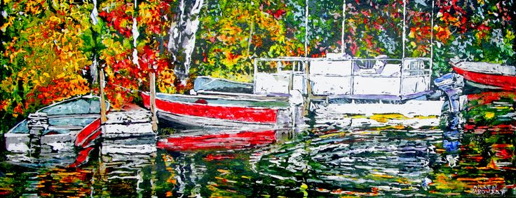 """boats devils lake, 15"""" x 40""""  micheal zarowsky  watercolour / acrylic painted directly on gessoed birch panel"""