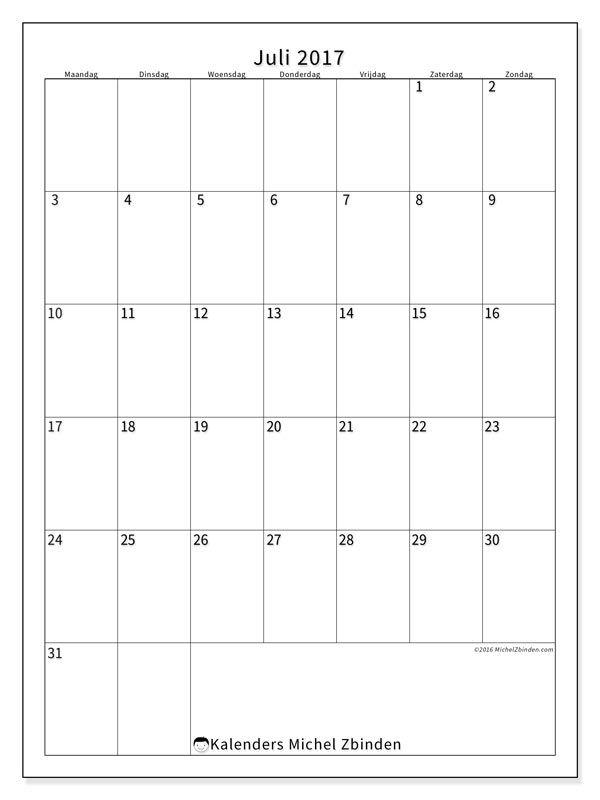 Kalender juli 2017 - Antonius (be)