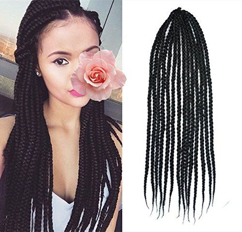 Crochet Box Braids Amazon : Black Color Box Braids Hair Extensions, Crochet & Lactch Bulk Braiding ...