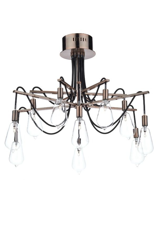 An industrial style 10 light semi ceiling flush light with a black braided cable and a copper finish. Each lamp is set within glass shades to give the effect of vintage light bulbs.