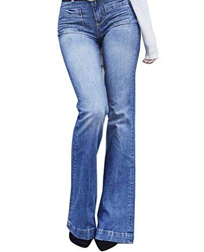 5b35c33eb85 Mujer Cintura Alta Pantalones Acampanados Vaqueros Jeans Pantalones De  Campana 3XL