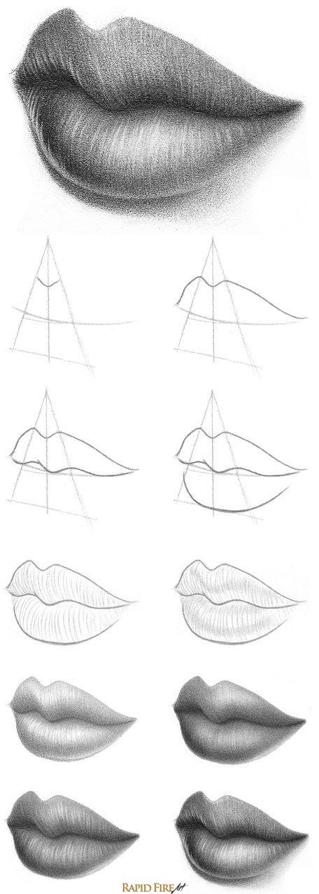 Como desenhar uma boca em ângulos diferentes
