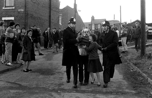 Keith Pattinson photographed the Miner's Strike of 1984 and captured the harsh times and events that occured. This is one of my favourite photos from the series, as it captures the desperation of the people and the power of the police in controlling (sometimes brutally) the striking miners
