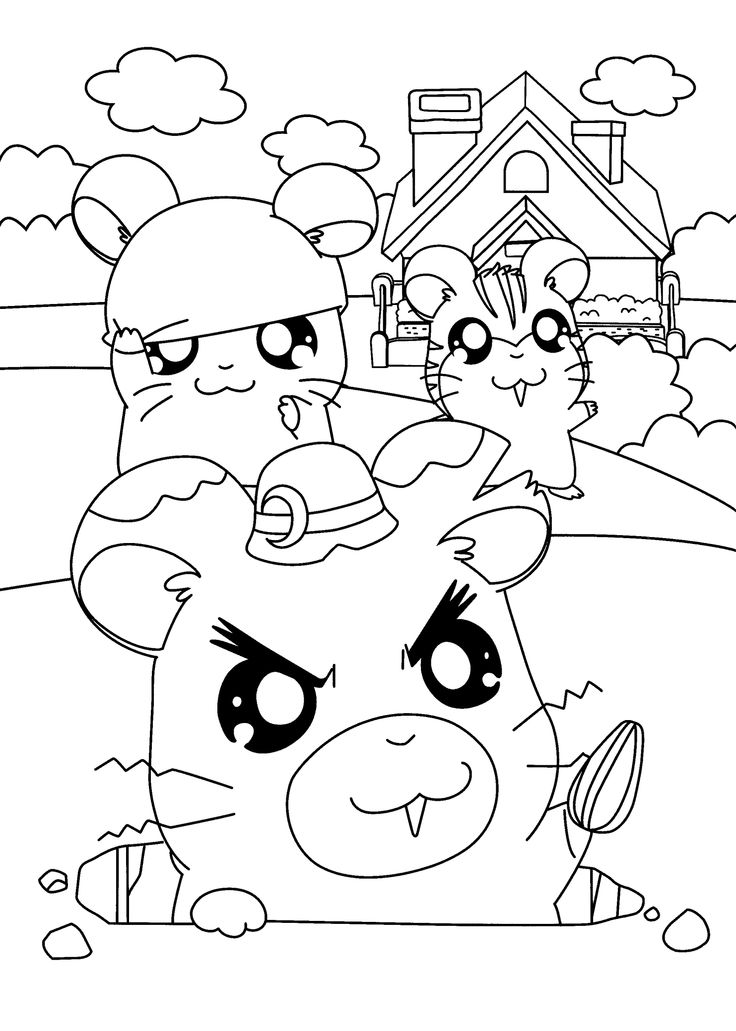 This is a graphic of Lively hamtaro coloring pages