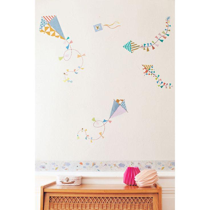 Sticker mural Les Cerf-volants Tinou Le Joly Sénoville pour Poisson Bulle. Poisson bulle, décoration murale pour chambres d'enfants et chambre bébé