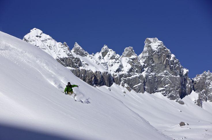 Skiing in Laax