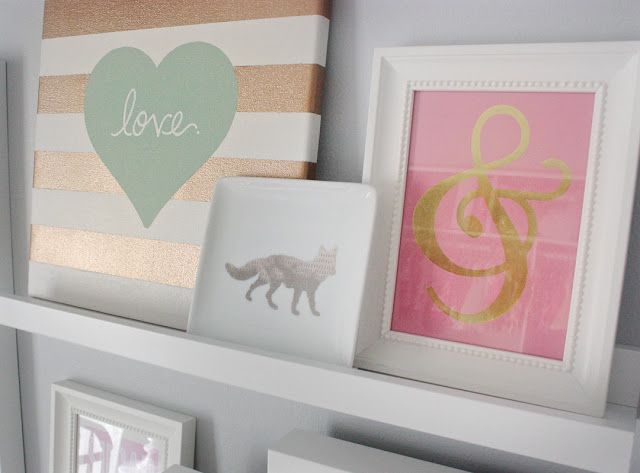 Click through-- love this whole nursery! grey and white with accents of aqua, pink, and gold. :)
