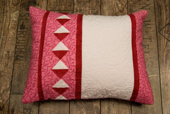 Pink quilted roses cushion by Maggiepatchwork on Etsy