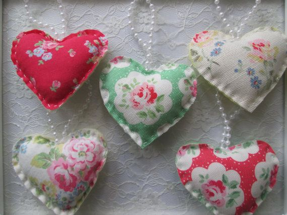 5 Cath Kidston Hanging Heart Felt Decorations - Wedding Favours - Christmas Decorations - Home Decor