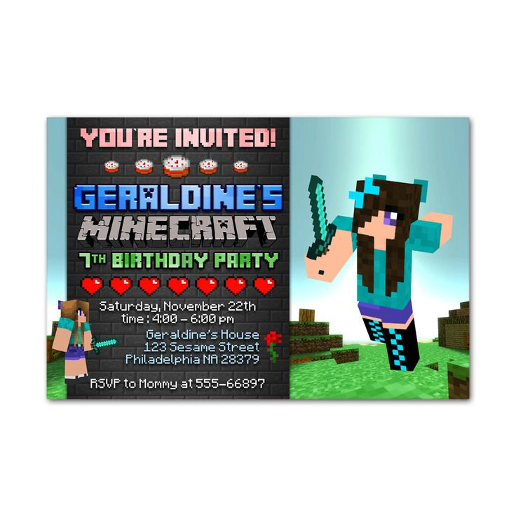 Minecraft Girls Kids Birthday Invitation Party Design