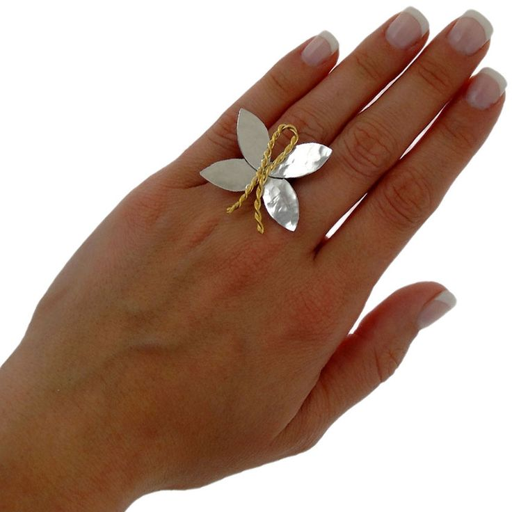 Handmade rhodium & 24K gold plated sterling silver ring
