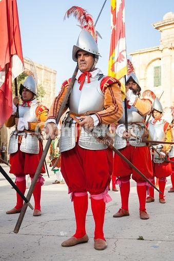 Stock Photo : 16th Century Military Knights at Fort Saint Elmo, Valletta, Malta