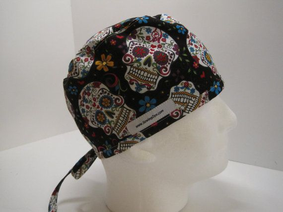 Black Sugar Skulls minimalist/mens scrub hat, nurse scrub hat, OR scrub hat. Surgical scrub hat, Surgical Tech Hat