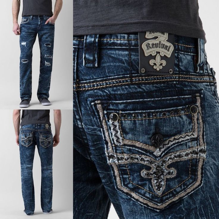 ROCK REVIVAL Straight Stretch Jean Cace Low Rise Embellished Faux Flap Jeans 31 #RockRevival #ClassicStraightLeg