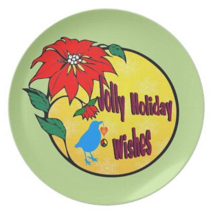 Jolly Holiday WIshes Gifts Dinner Plate - christmas idea gift idea diy unique special merry xmas family holidays