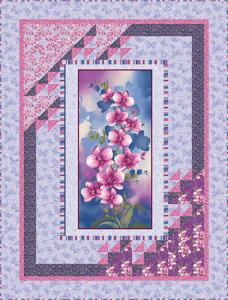 """Check out our FREE """"Orchid Harmony"""" quilt pattern using the collection, """"Orchid Shadows"""" by Dover Hill Studio for Benartex. Designed by Stitched Together Studios. Finished size: 46"""" x 54""""."""
