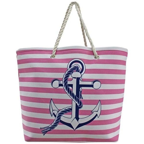Pink & White Stripe Nautical Anchor Oversize Beach Tote Bag (£19) ❤ liked on Polyvore featuring bags, handbags, tote bags, fashion bags, pink, totes, beach tote bags, beach bag, oversized beach bag and weekender tote