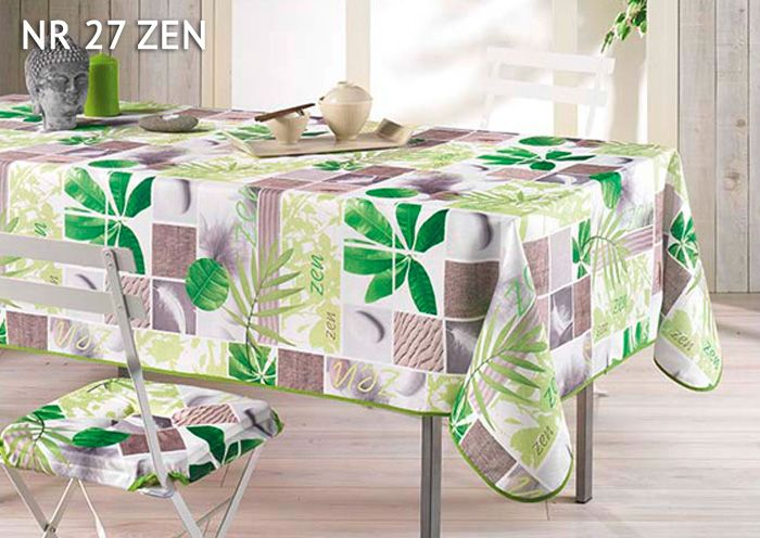 Obrusy z nadrukiem zieleni w kolorze beżowym