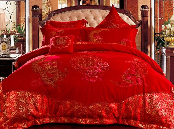 Chinese traditional wedding bedding set king size luxury comforter set bed linen bed cover red colors bed sheet