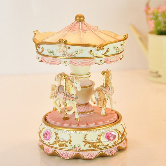 Beautiful Musical Carousel  Pink - Great for Personal Collections and as Gifts----I really love this