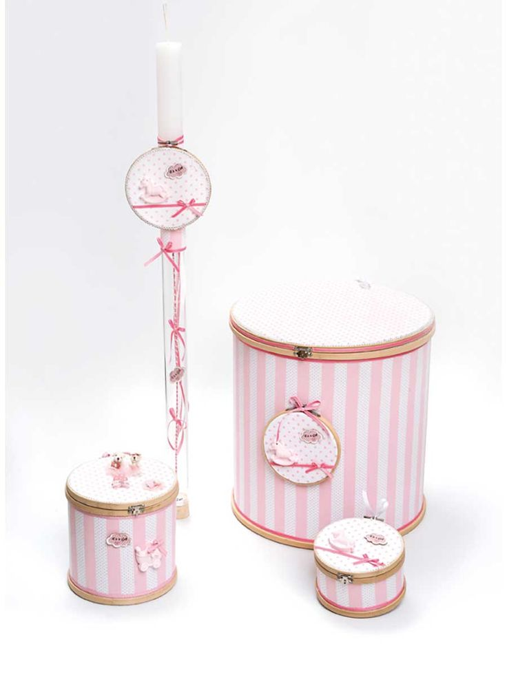 #itsagirl #handmade #christening #set #pink #stripes #carousel @olgazafiraki