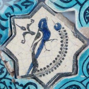 Karatay Medrese, Konya : Single Tile Motifs with Cross Tiles – Haç Karo ile Tek Karo Motifleri-Bird with Olive Branch – Zeytin Dalı ile Kuş